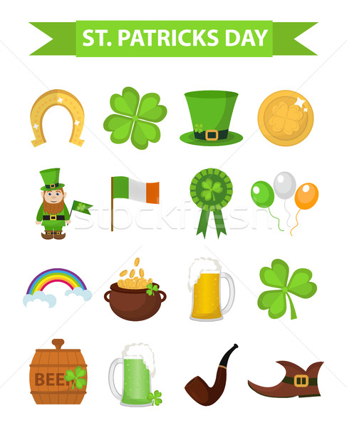 Stock photo: St. Patricks Day icon set design element. Traditional irish symbols in modern flat style. Isolated o
