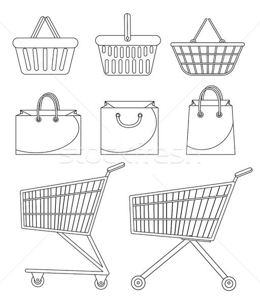 Stok fotoğraf: Alışveriş · çantası · sepet · araba · karalama · hat