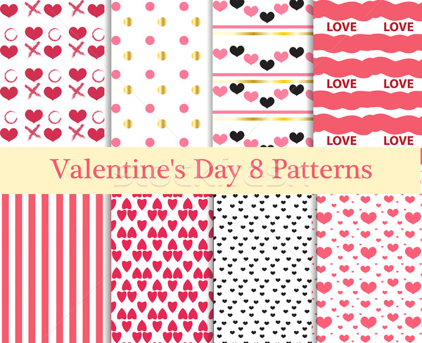 Valentines Day seamless pattern set. Hearts endless background, texture. Collection of paper. the ve Stock photo © lucia_fox