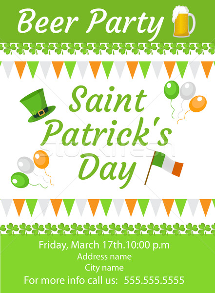 Happy St. Patrick's Day invitation, poster, flyer. Beer Party template for your design. Vector illus Stock photo © lucia_fox