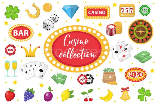 カジノ コレクション ギャンブル セット 孤立した 白 ストックフォト © lucia_fox