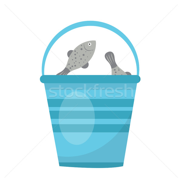 Bucket of fish. icon flat, cartoon style. Isolated on white background. Vector illustration, clip-ar Stock photo © lucia_fox