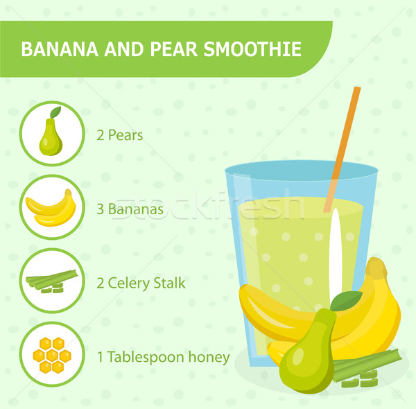Banana and pear smoothie recipe with ingredients. Smoothies, milkshake . Healthy  . Detox  . Organic Stock photo © lucia_fox