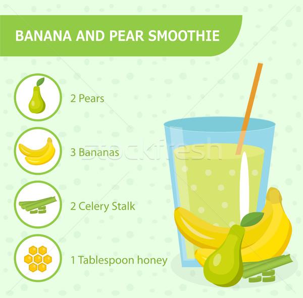 Banana pera ricetta ingredienti sani Foto d'archivio © lucia_fox