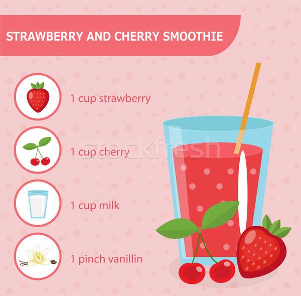 Eper cseresznye smoothie recept hozzávalók egészséges Stock fotó © lucia_fox
