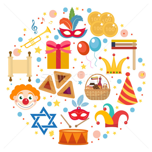 Purim icons set in round shape, isolated on white background. Vector illustration clip-art. Stock photo © lucia_fox