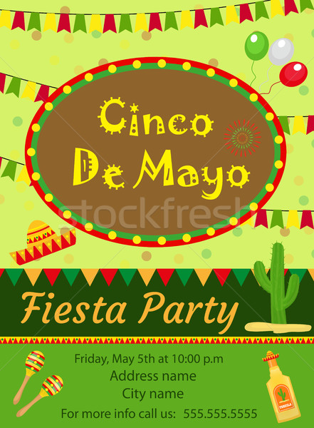 Stock photo: Cinco de Mayo invitation template, flyer. Mexican holiday postcard. Vector illustration.