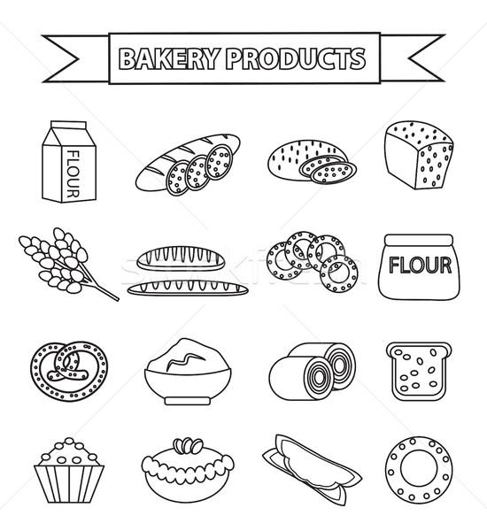 Pékség termékek ikon gyűjtemény vonal skicc firka Stock fotó © lucia_fox