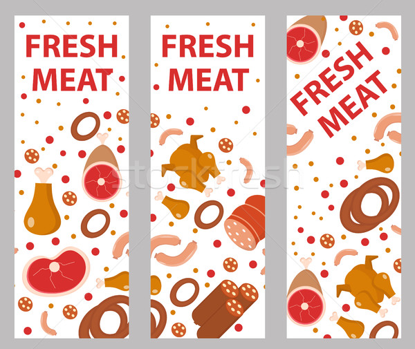 Meat banner set, flat style. board, flyer. Stock photo © lucia_fox