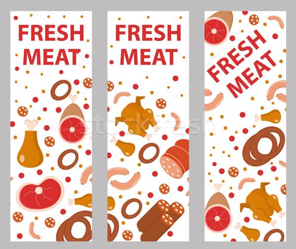 Vlees banner ingesteld stijl boord flyer Stockfoto © lucia_fox