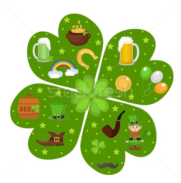 St. Patricks Day icon set in clover-shape design element. Traditional irish symbols in modern flat s Stock photo © lucia_fox