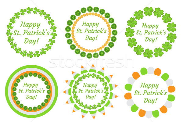 St. Patrick's Day round frame with clover, shamrock, flags, bunting. Isolated on white background. V Stock photo © lucia_fox