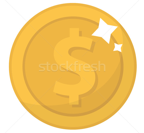 Coin icon, flat design. Gold coins, cent, isolated on white background. Money for mobile application Stock photo © lucia_fox