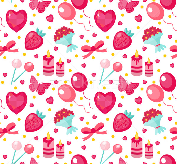Cute seamless pattern Valentines day with strawberries, heart, flower, butterfly, ribbon. Love, roma Stock photo © lucia_fox