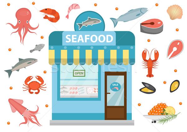 シーフード ショップ 建物 魚 タコ ストックフォト © lucia_fox