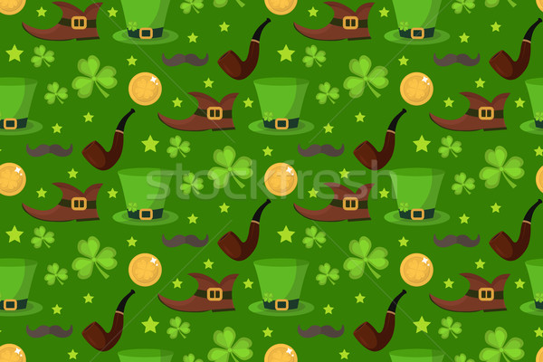 St. Patrick s Day seamless pattern. Endless background texture. Vector illustration. Stock photo © lucia_fox