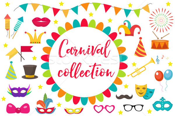 Carnival, party icon set design element. Masquerade, Photo booth in modern flat style. Isolated on w Stock photo © lucia_fox