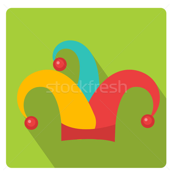 Colored jester hat icon flat style with long shadows, isolated on white background. Vector illustrat Stock photo © lucia_fox