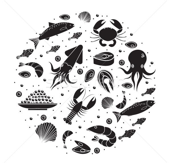 морепродуктов форма черный силуэта морем Сток-фото © lucia_fox