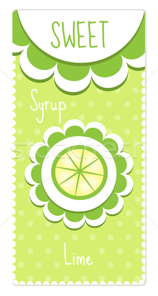 Sweet fruit labels for drinks, syrup, jam. Lime label. Vector illustration Stock photo © lucia_fox