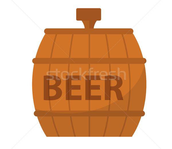 Cerveja barril ícone estilo isolado branco Foto stock © lucia_fox