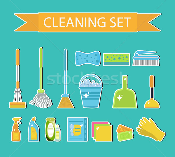 Set of icons for cleaning tools. House cleaning staff. Flat design style. Cleaning sticker. Cleaning Stock photo © lucia_fox