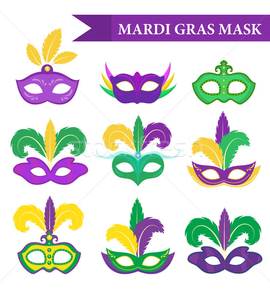 Mardi Gras mask set, design element, flat style. collection masks with feathers, isolated on white b Stock photo © lucia_fox