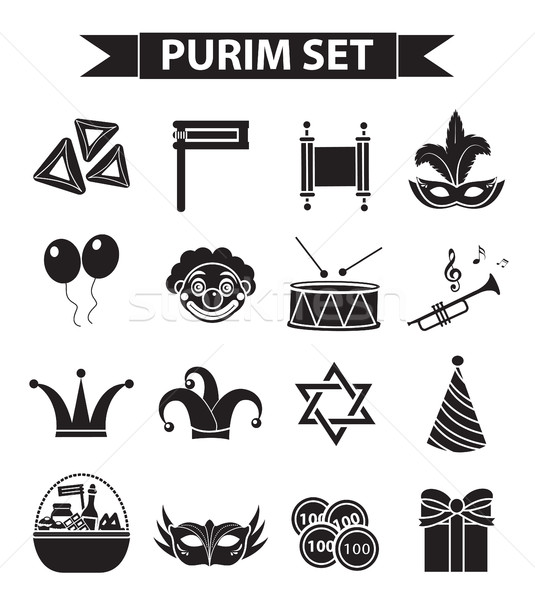 Happy Purim carnival icons set, black silhouette style. Jewish holiday collection signs, symbols, is Stock photo © lucia_fox