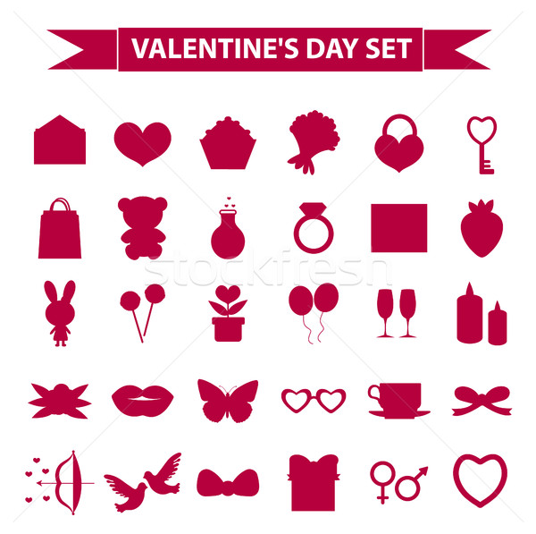 Stock photo: Valentines Day icon set silhouette style. Love, romance, wedding collection signs, symbols, isolated