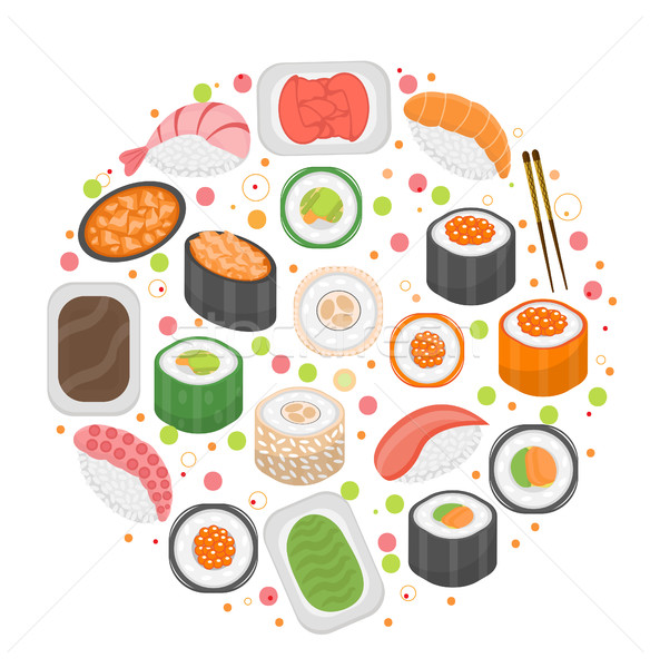Sushi set icons, in round shape, flat style. Japanese cuisine isolated on white background. Vector i Stock photo © lucia_fox