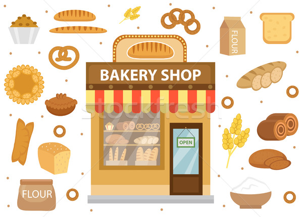 Bakery set icons with bread shop building, roll, loaf, cakes, bagels, . Isolated on white background Stock photo © lucia_fox