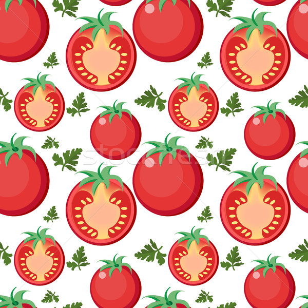 Tomato seamless pattern. Tomatoes endless background, texture. Vegetable backdrop. Vector illustrati Stock photo © lucia_fox