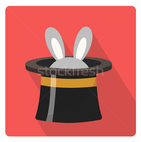Magician hat with a rabbit icon flat style with long shadows, isolated on white background. Vector i Stock photo © lucia_fox