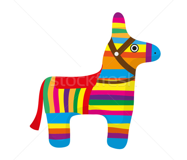 Pinata icon, flat style. Donkey colorful. Isolated on white background. Vector illustration, clip-ar Stock photo © lucia_fox