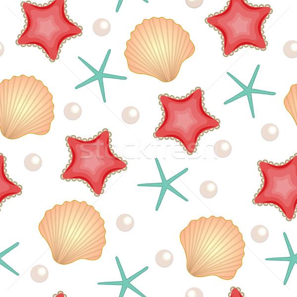 Seashells seamless texture. Marine background. Cute summer background. Vector illustration Stock photo © lucia_fox