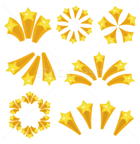 Stars burst icon set cartoon style. Yellow star explosion fireworks, flash isolated on white backgro Stock photo © lucia_fox