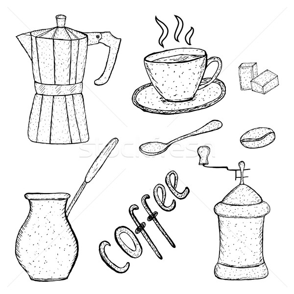 коллекция кофе эскиз инструментом стороны рисунок Сток-фото © lucia_fox