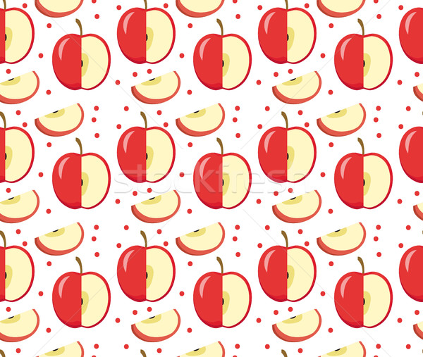Apples seamless pattern. Red Apple endless background, texture. Fruits . Vector illustration. Stock photo © lucia_fox
