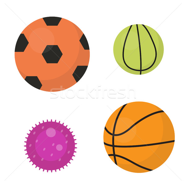 Balls set icons, flat, cartoon style. Collection of football, basketball, tennis. Isolated on white  Stock photo © lucia_fox