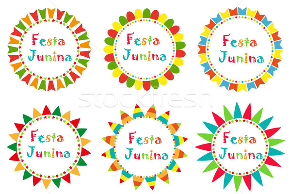 Festa Junina set frame with space for text. Brazilian Latin American festival blank template for you Stock photo © lucia_fox