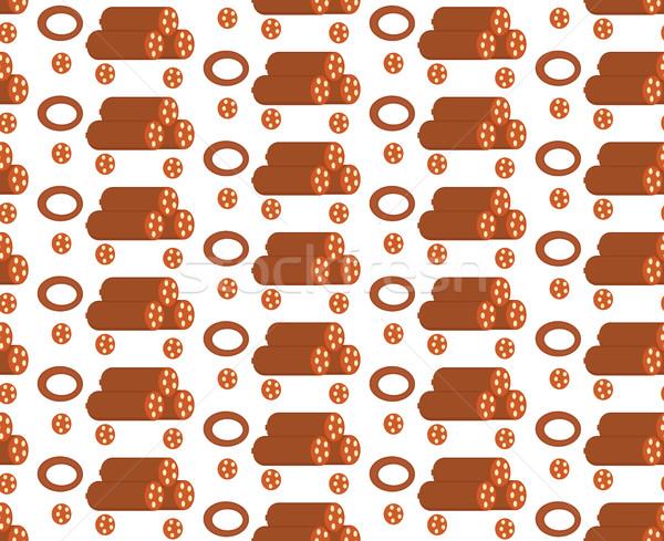 Salami stylu kiełbasa nieskończony tekstury Zdjęcia stock © lucia_fox