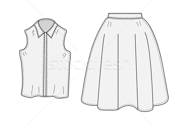 Skirt and blouse set sketch retro style. Clothes, hand-drawing, doodle style. Women suit. vector ill Stock photo © lucia_fox