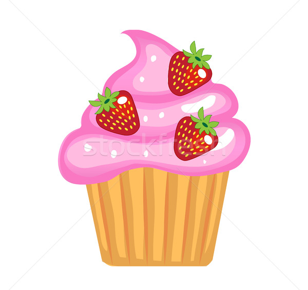 Cute cupcakes, flat cartoon style. Cake with cream and strawberries. Isolated on white background. V Stock photo © lucia_fox