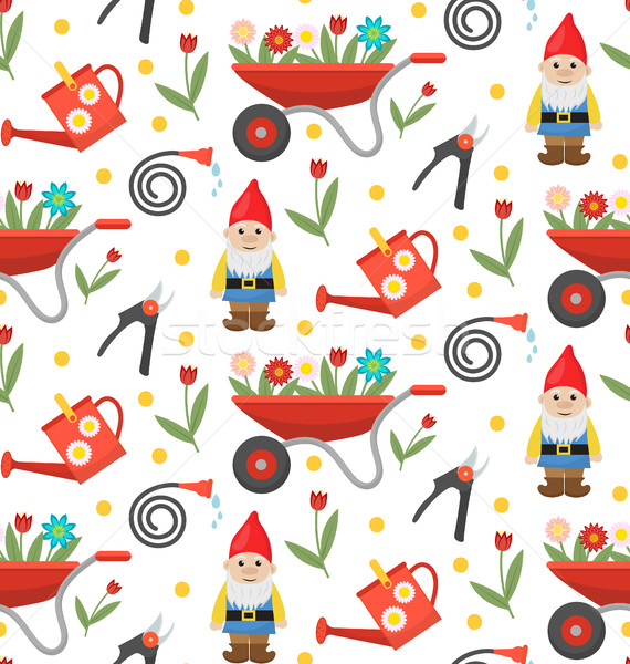 Stock photo: Gardening seamless pattern with gnome, flowers and tools. Spring endless background. Horticulture te