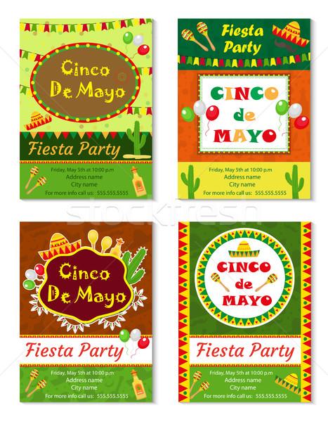 Viva mexico stock photos stock images and vectors stockfresh cinco de mayo invitation template flyer mexican holiday postcard vector illustration stock stopboris Images
