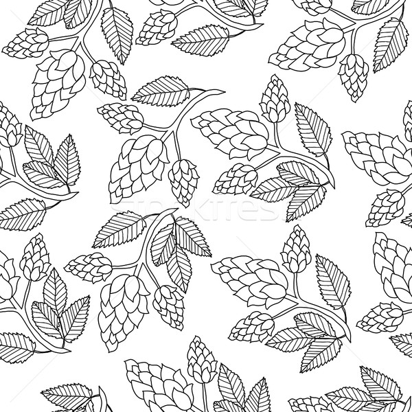 Hops seamless pattern, hand drawing, doodle style. Outline repeating texture, endless background. Br Stock photo © lucia_fox