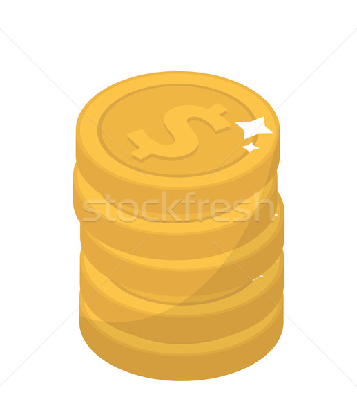 Coin stacks, flat design. Gold coins, cent, isolated on white background. Vector illustration, clip  Stock photo © lucia_fox