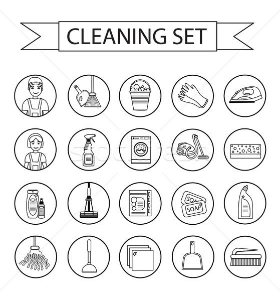 Ingesteld iconen schoonmaken tools moderne lijn Stockfoto © lucia_fox