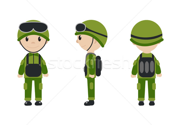 Cartoon character of the worker, soldier, construction worker. The guy in the form of talisman. Work Stock photo © lucia_fox