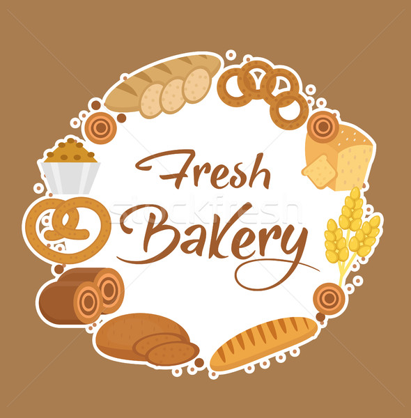 Bakery products frame, flat style. Set of different bread in a round  template for text, label, embl Stock photo © lucia_fox